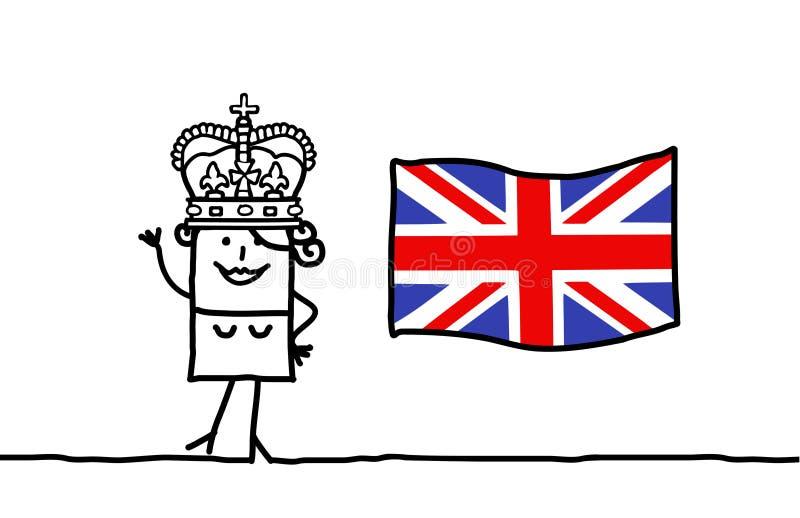 Rainha e e bandeira de Inglaterra ilustração royalty free