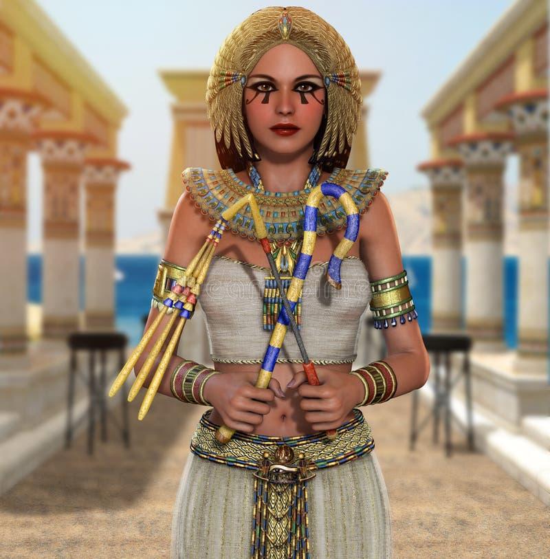 Rainha egípcia Cleopatra Pharaoh que guarda sinais do poder ilustração stock