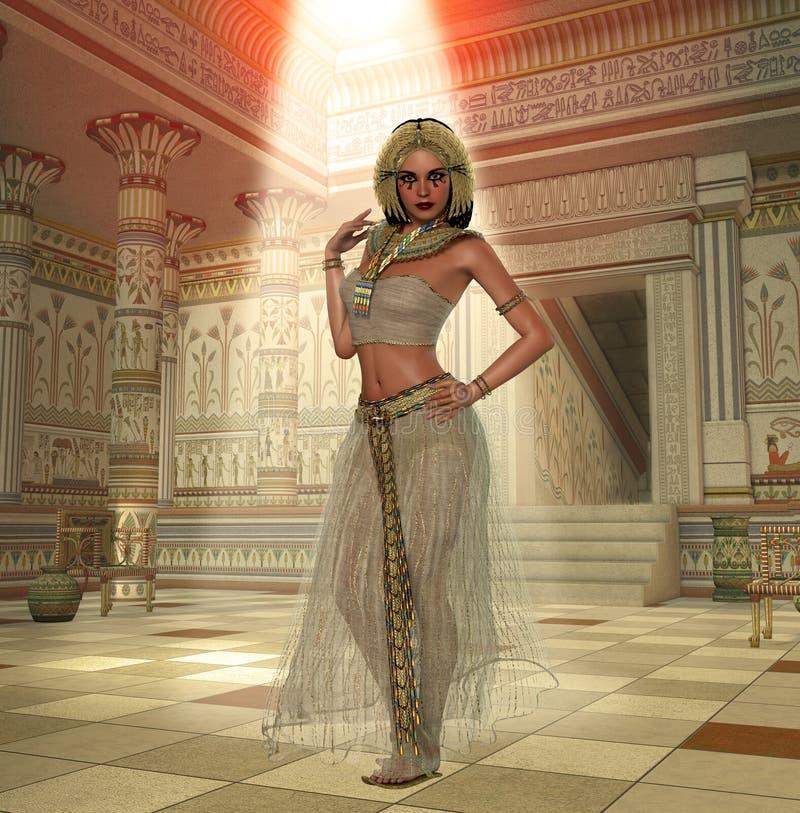Rainha egípcia Cleopatra Pharaoh Temple ilustração stock