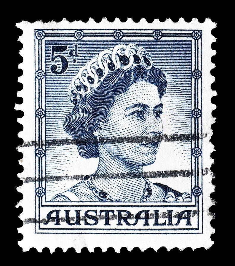 Rainha Elizabeth em selos postais fotografia de stock