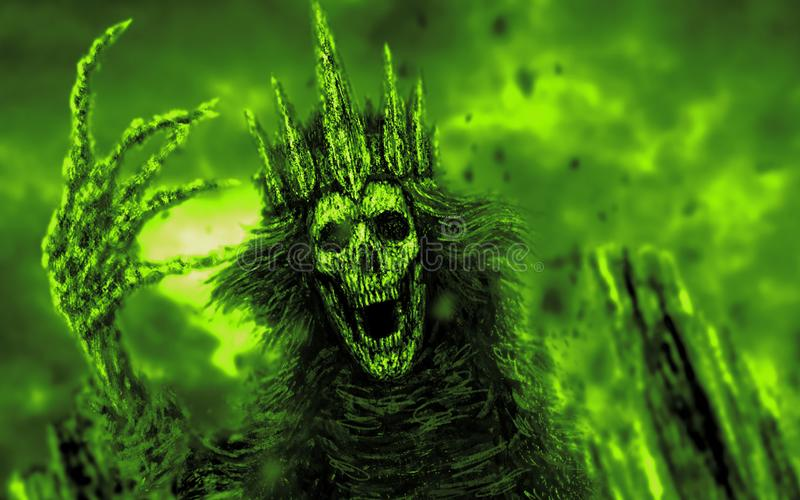 A rainha escura com coroa puxa a mão óssea Cor verde ilustração royalty free