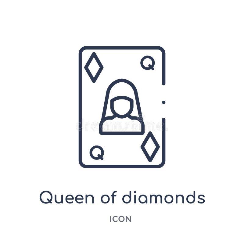 Rainha linear do ícone dos diamantes da coleção do esboço do jogo Linha fina rainha de ícone dos diamantes isolada no fundo branc ilustração royalty free