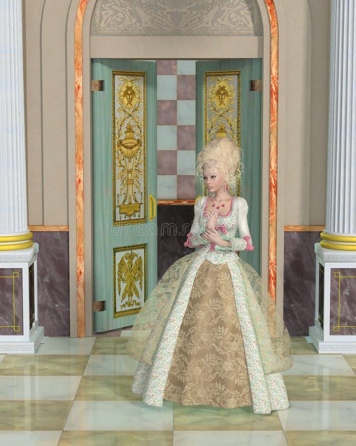 Rainha Marie Antoinette no palácio de Versalhes ilustração stock