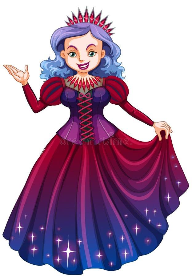Rainha no vestido vermelho bonito ilustração stock