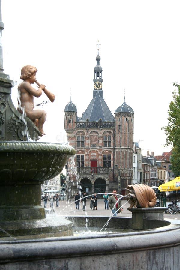 Rainha Wilhelmina Fountain no limiar imagens de stock