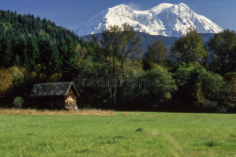 Rainiers Settlers kabin arkivbilder