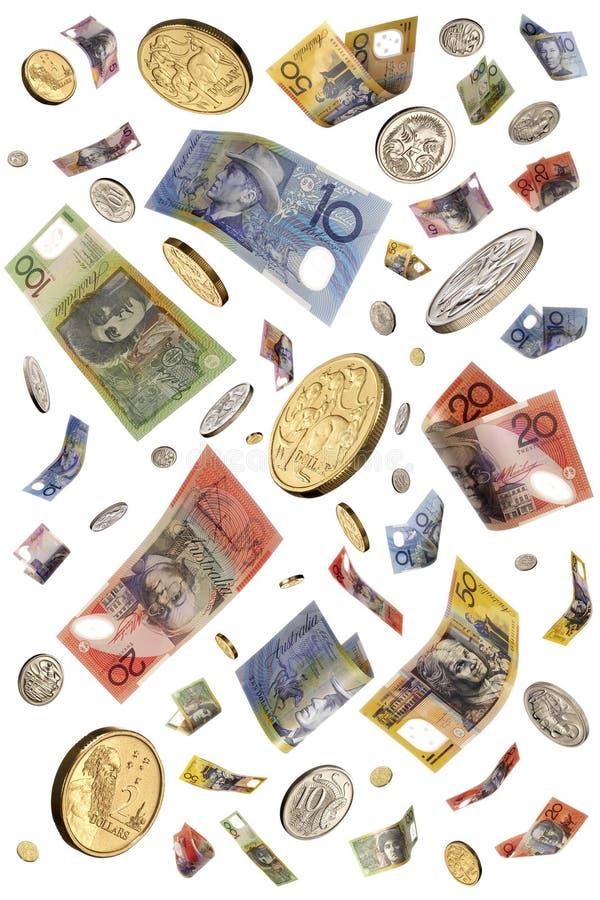 Raining Australian Money Isolated. Australian money notes and coins falling through the air stock photos