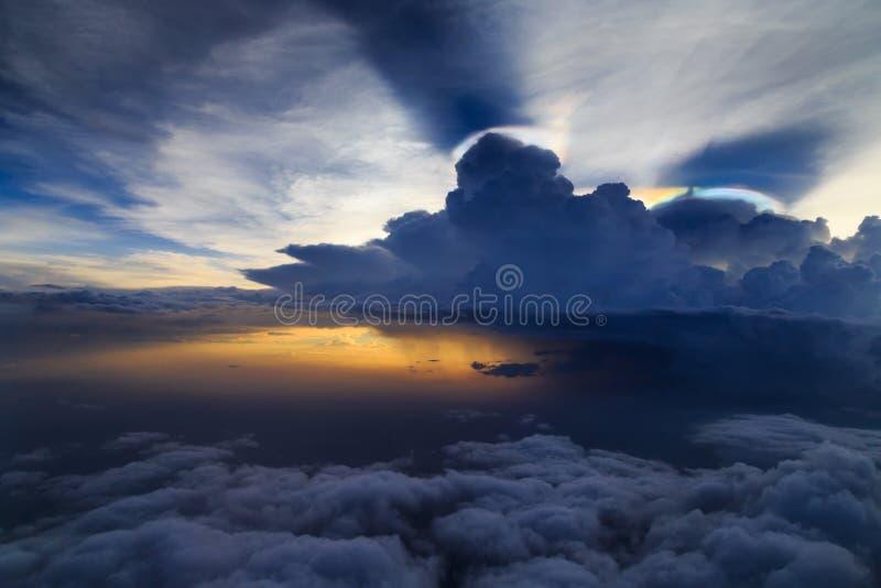 Raining cloud sky with storm. Raining cloud storm sky sunset royalty free stock images