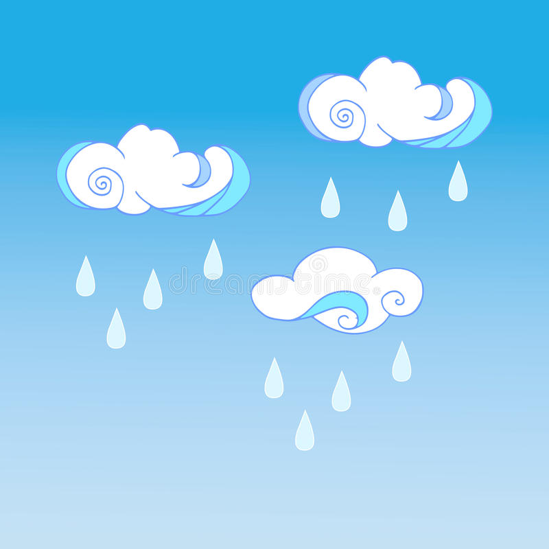 Kids Room Decoration Space Theme Vector Illustration: Raining Clouds On Color Background. Cute Cloud Poster