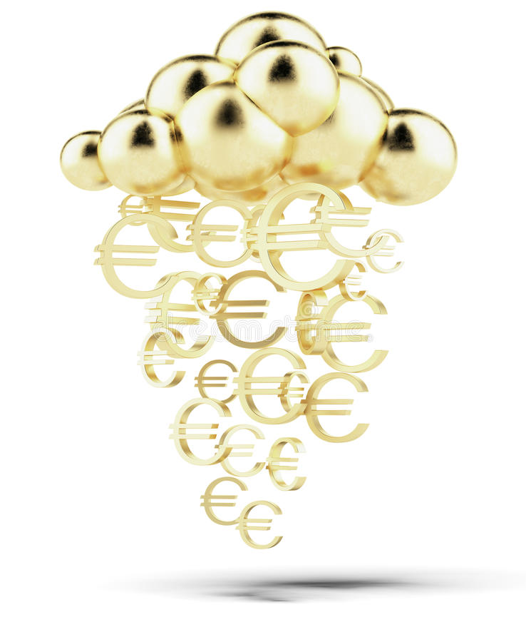 Raining gold euros royalty free stock photography