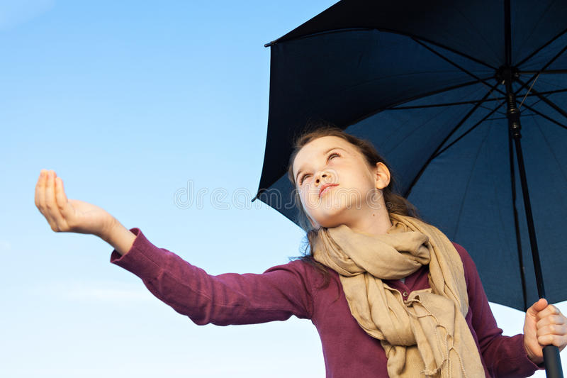 Download Is it raining? stock photo. Image of little, female, fall - 33137488