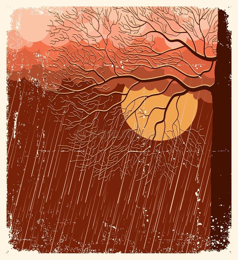 Download Raining nature landscape stock vector. Image of skyline - 22689508