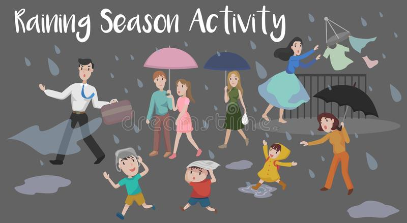 Raining Season Activity. Explore the activity and action during raining season stock illustration