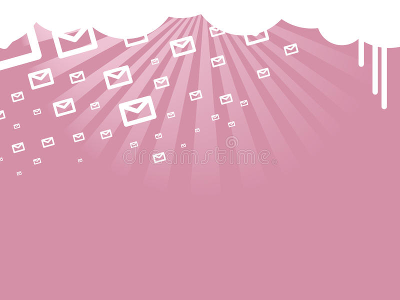 Raining short text messages. Vector stylized illustration of cloudy sky with simple message icons raining, useful for commercial related to promotional, free and vector illustration