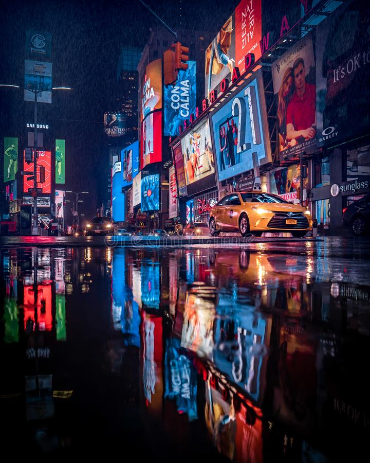 Raining time at Times Square stock photo