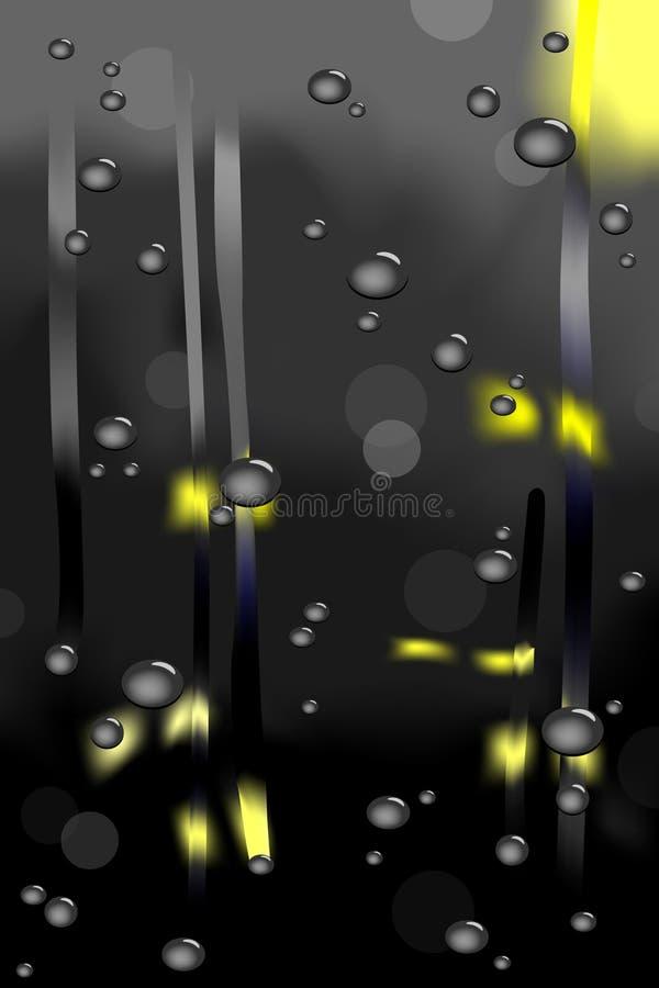 Raining view through window at night
