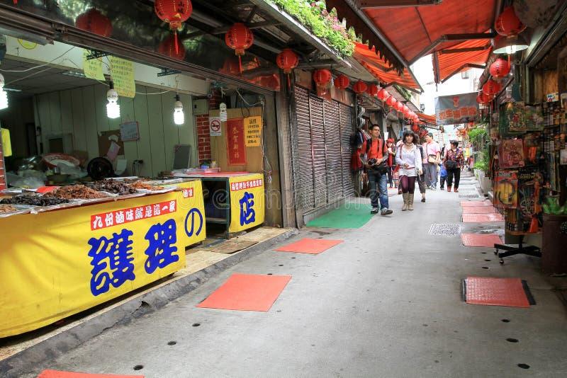 rainning在Jiufen,台湾Jiufen的Jiufen老街道 库存照片
