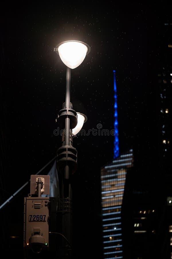 Rainning night street light in midtown Manhattan. New York City - USA - Jun 20 2019: Rainning night street light in midtown Manhattan stock photography