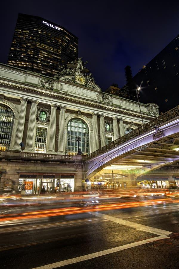 Rainning night street scene at Grand Central Terminal in midtown Manhattan. New York City - USA - Jun 20 2019: Rainning night street scene at Grand Central stock photo