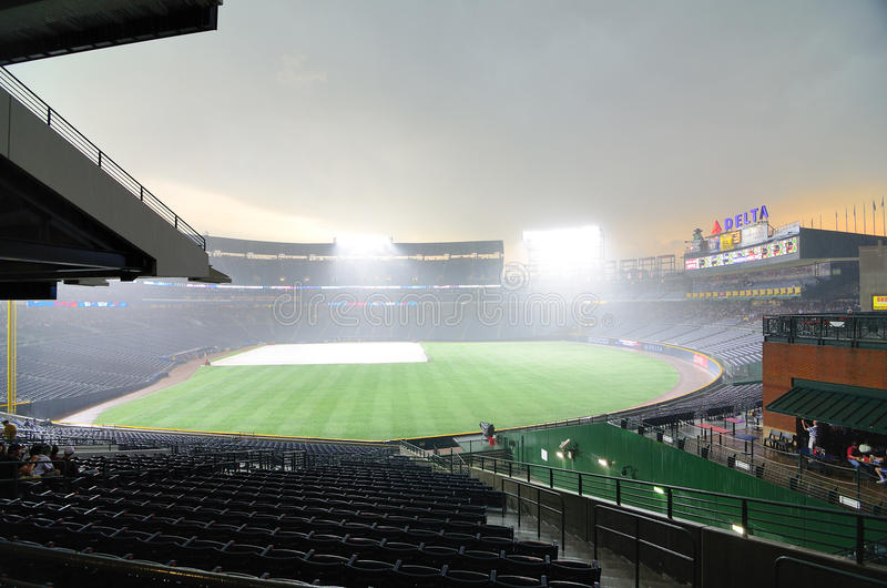 Download Rainout at Turner Field editorial photography. Image of league - 19951147