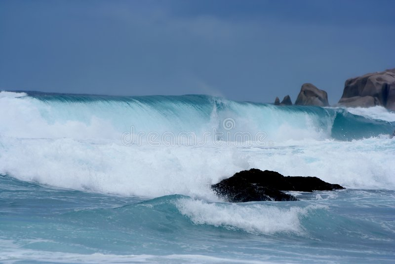 Rainstorm, giant waves, tsunami close-up. stock images