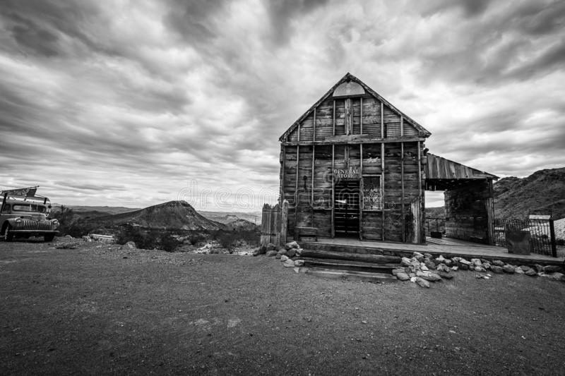 Storm clouds over the ghost town of Nelson. A rainstorm passes over the Nelson Ghost Town, which is famous as being a former silver mine. Today it is a tourist stock photos
