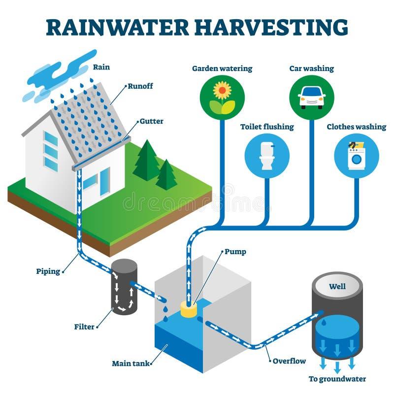 Free Rainwater Harvesting System Isometric Diagram Royalty Free Stock Photography - 170058717
