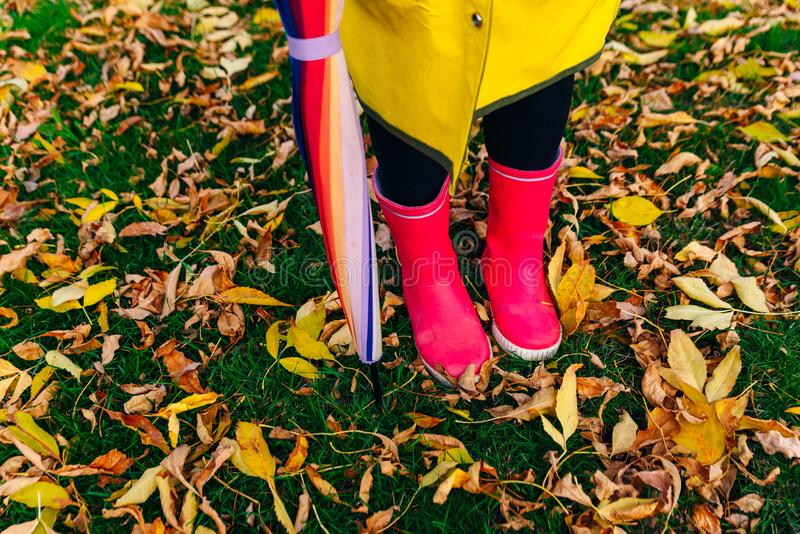 Yellow raincoat. Rubber pink boots against. Conceptual image of legs in boots on green grass. Rainy autumn. Rubber pink boots against. Conceptual image of legs royalty free stock photo