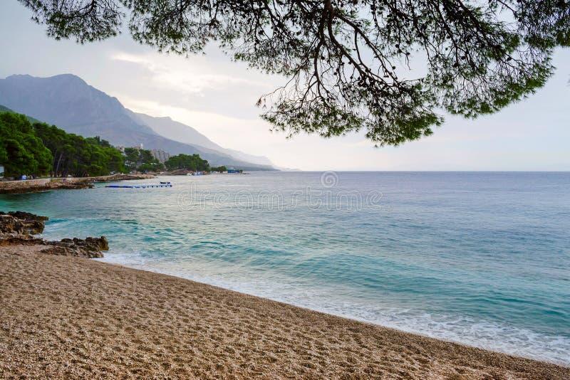Rainy beach in Brela, Croatia, Makarska Riviera, Dalmatia stock images