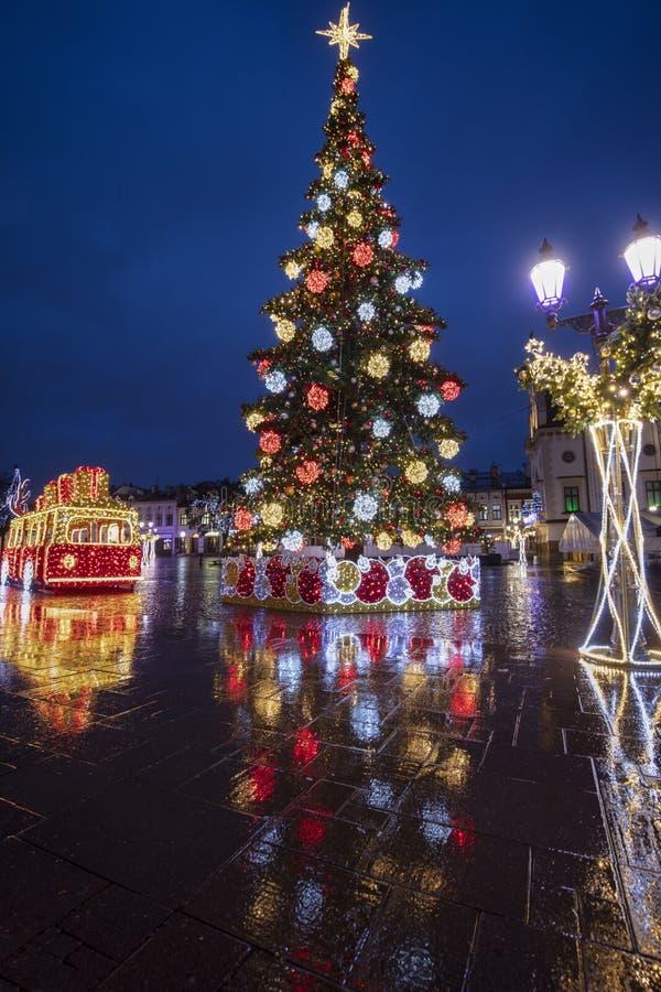 Rainy Christmas in Rzeszow lizenzfreies stockfoto