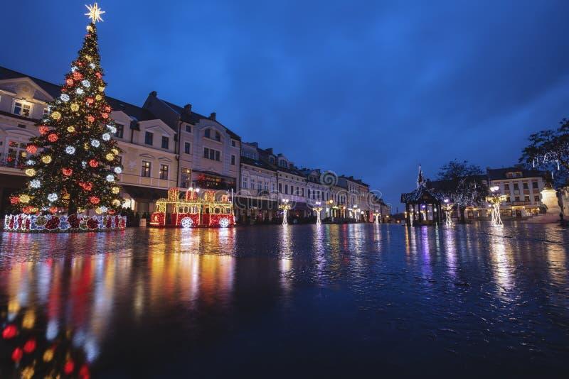 Rainy Christmas in Rzeszow stockfotografie