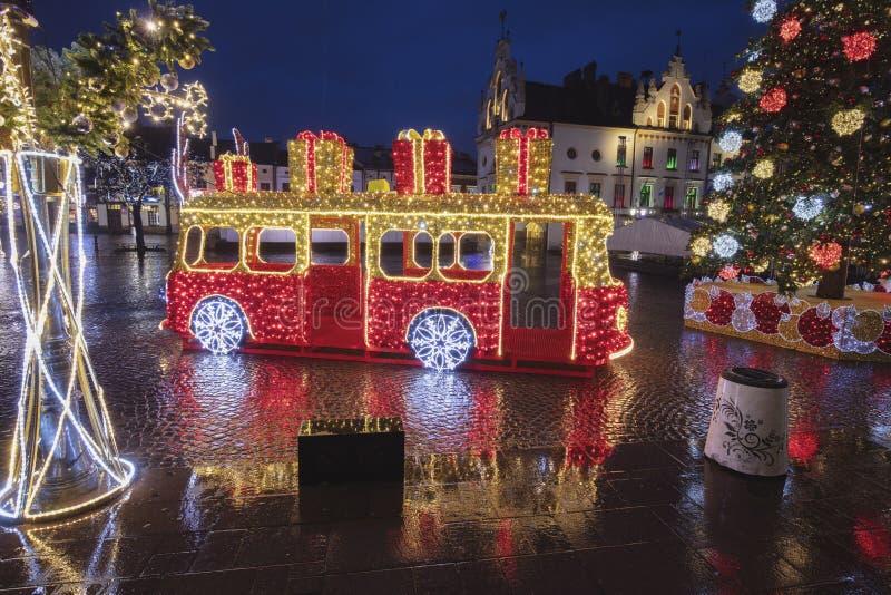 Rainy Christmas in Rzeszow stockfotos