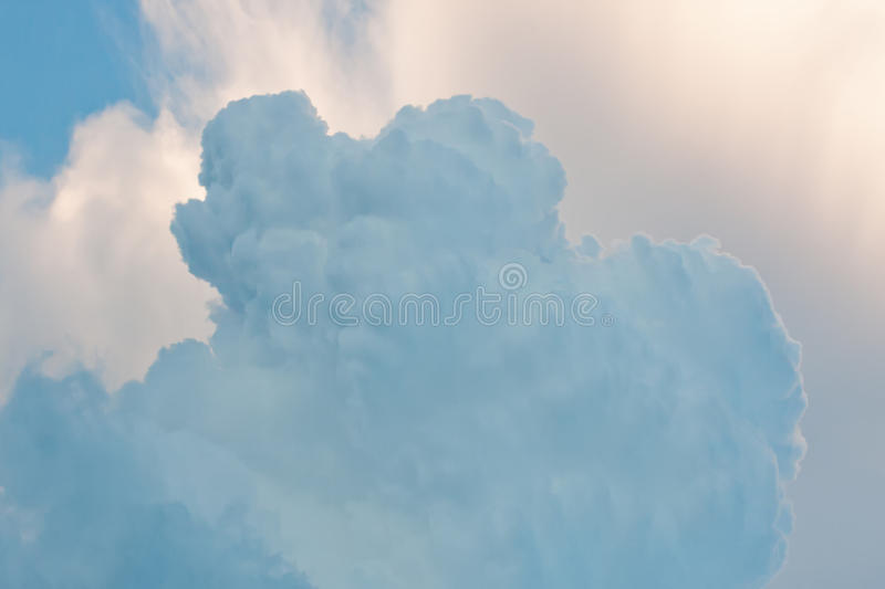 Rainy clouds condensation. Fluffy cloud in sky. Macro view soft focus. Image royalty free stock images