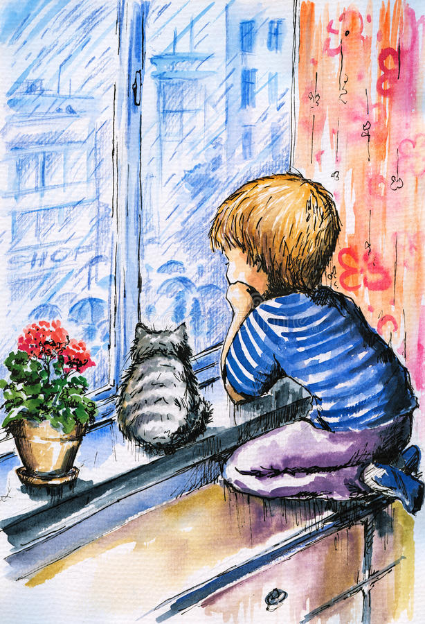 In rainy day. Little boy and cat watching the city through the window in rainy day.Picture i have created with watercolors