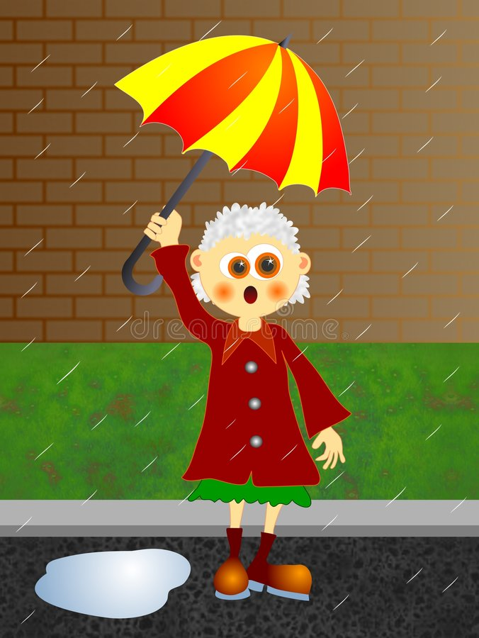 Download Rainy Day stock illustration. Image of female, gran, hold - 44310