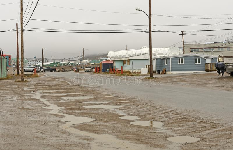 Rainy Day in an Arctic Village. Rainy Day in the Arctic on Iqaluit in Nunavut, Canada stock photography