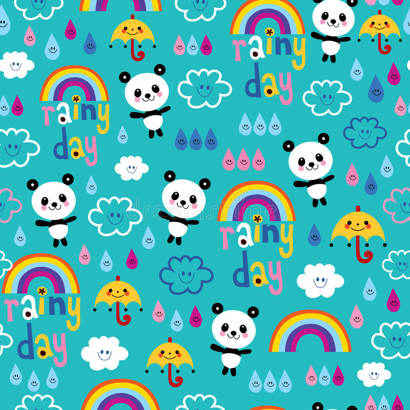 Rainy day clouds rainbows umbrellas raindrops panda bears pattern. Rainy day clouds rainbows umbrellas raindrops panda bears seamless pattern vector illustration