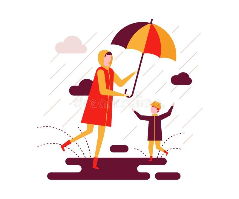 Rainy day - colorful flat design style illustration vector illustration