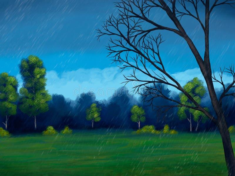Download Rainy Day Digital Painting stock illustration. Illustration of spring - 20025230