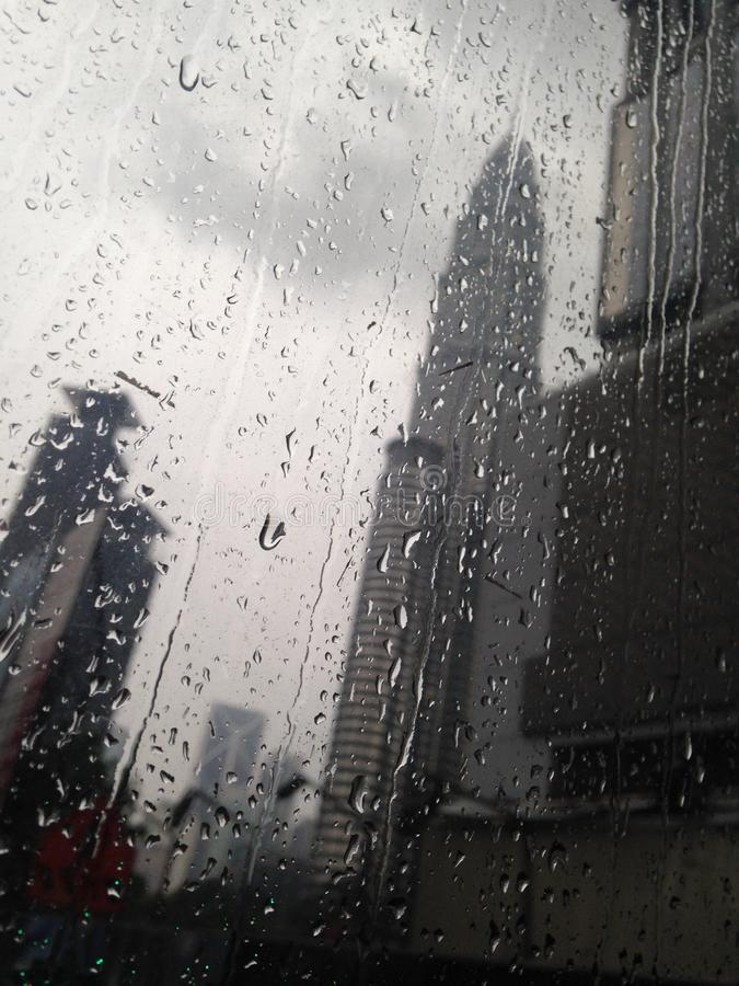 Free Rainy Day, Drops On The Window Glass, Cityview. Stock Photos - 126694013