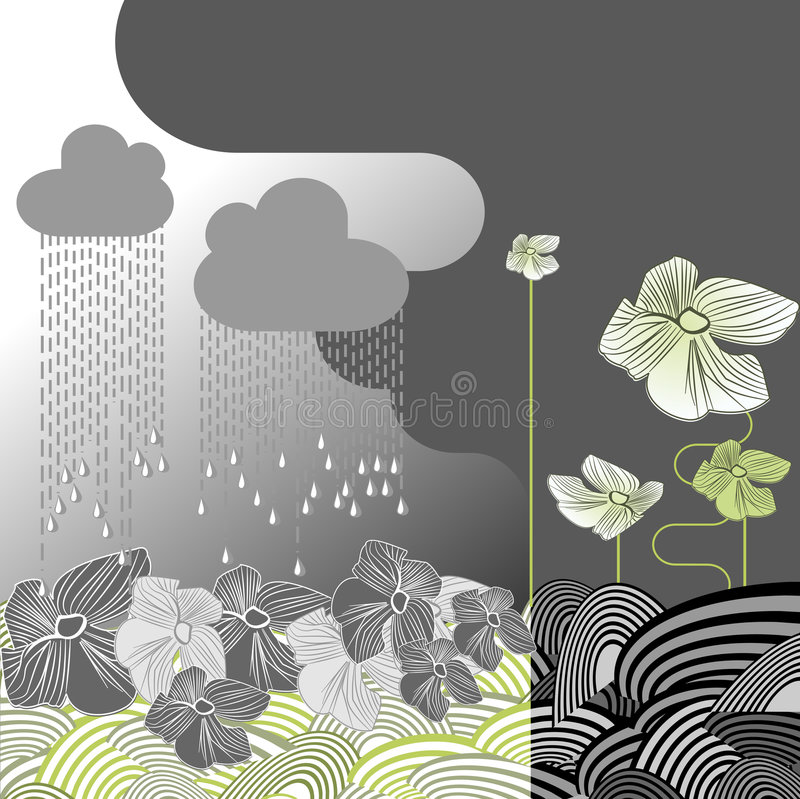 Download Rainy Day Flowers stock vector. Image of summer, flower - 2869382