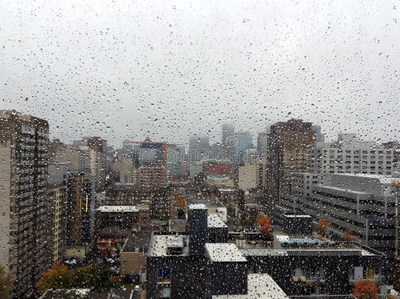 Rainy day II. Montreal downtown on a rainy day royalty free stock images