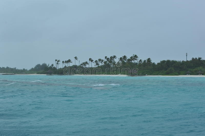 Rainy Day At The Maldives Stock Image
