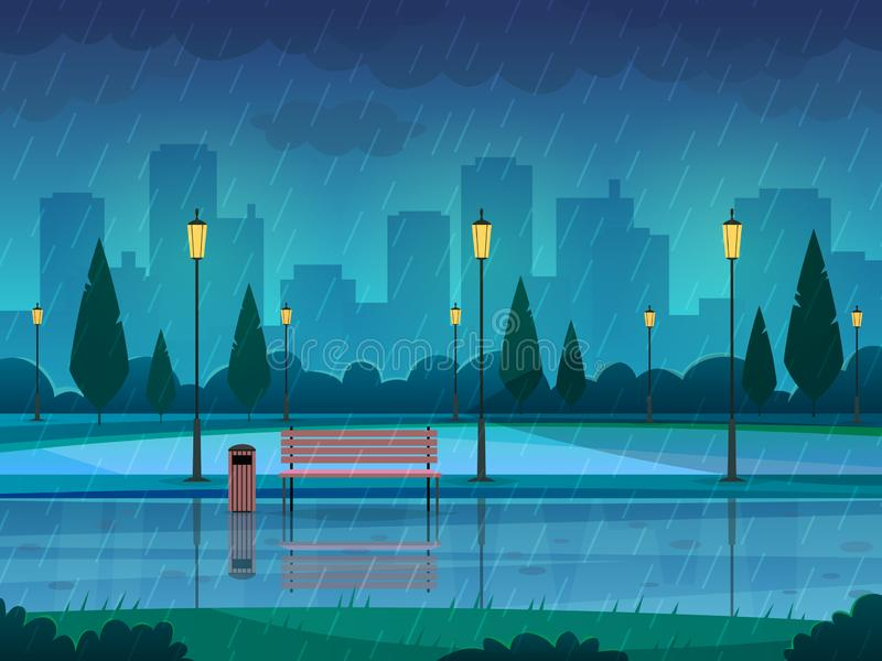 Rainy day park. Raining public park rain city nature season path bench street lamp landscape, flat vector background royalty free illustration