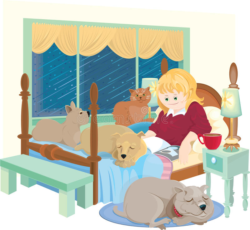 Rainy day with pets vector illustration