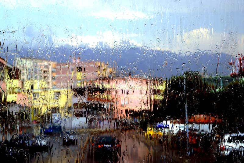 Rainy day on the road. Rainy last summer day in Albania from the road In soft view and mood royalty free stock photography