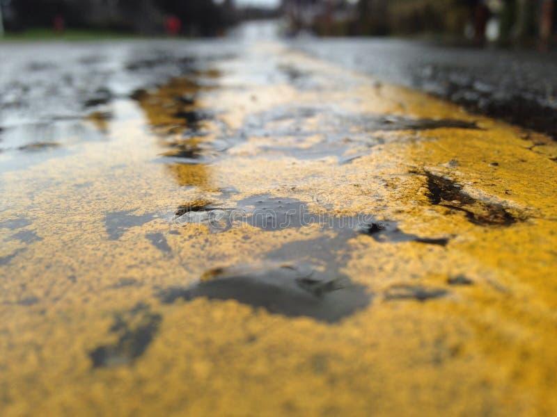 Rainy day street line stock photo