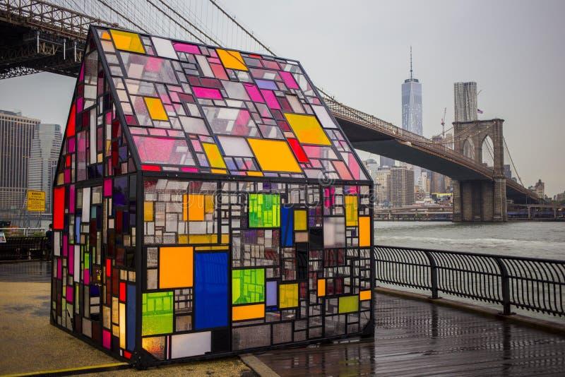 Rainy evening at the Brooklyn Bridge Park stock photography