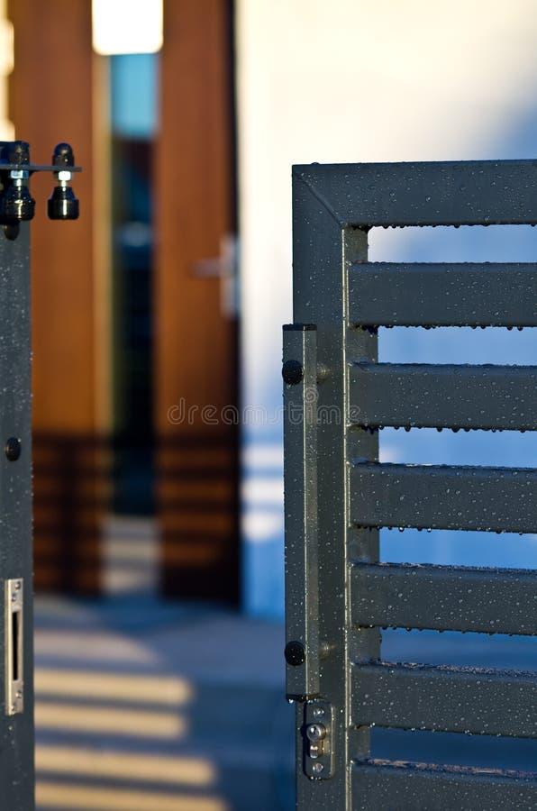 Rainy gate stock photo
