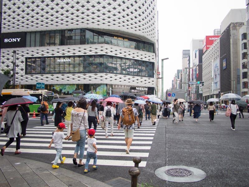 Rainy Ginza Street Crossing royalty free stock photos
